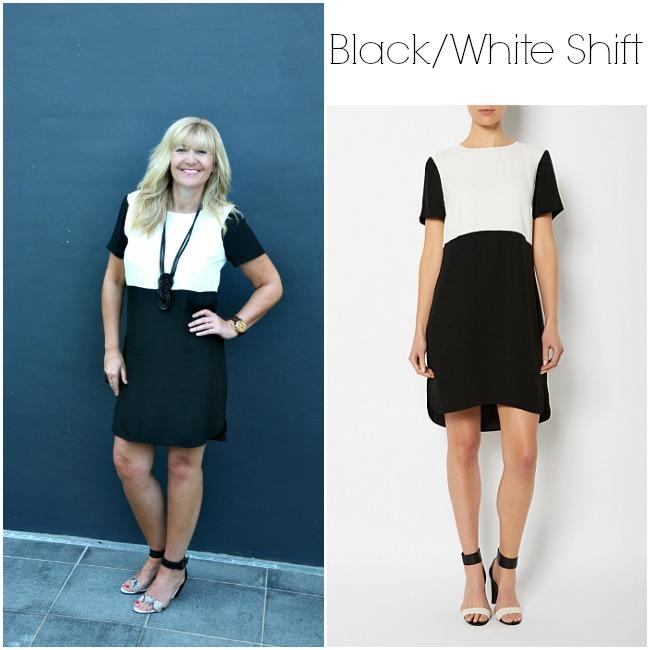 Black and white block shift dress