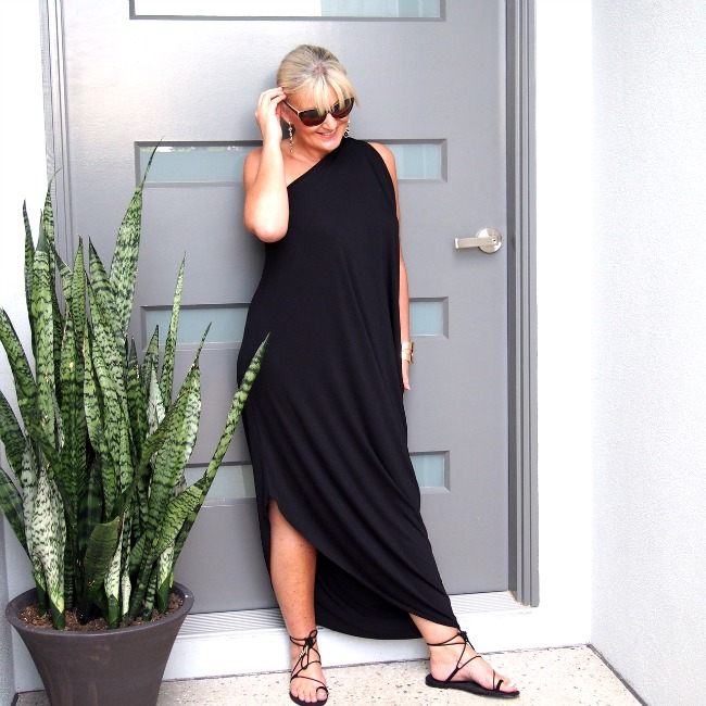 Blue Bungalow Black One Shoulder